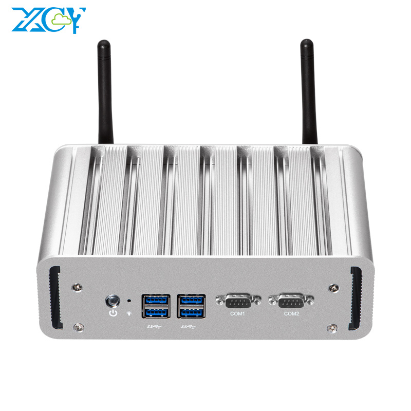 XCY Intel Celeron J1900 Quad-Cores Mini PC 2*RS232 2*LAN 4*USB HDMI VGA WiFi Fanless Industrial Micro Computer Windows 10