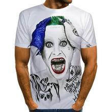 2020 Summer Clown white Joker 3D Printed T Shirt Men Joker Face Casual Male tshirt Clown Short Sleeve Funny T Shirts TopsXXS-6XL