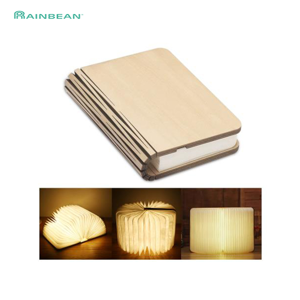 Foldable Led Book Lamp USB Rechargeable 3 Color Dimmable Wooden  Night Light  For Living Room  Decoration