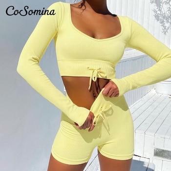 CoSomina Lace Up Women Short Sets Autumn Square Collar Skinny Solid Female Sportware Autumn Regular Sleeves Ladies Suit 2021