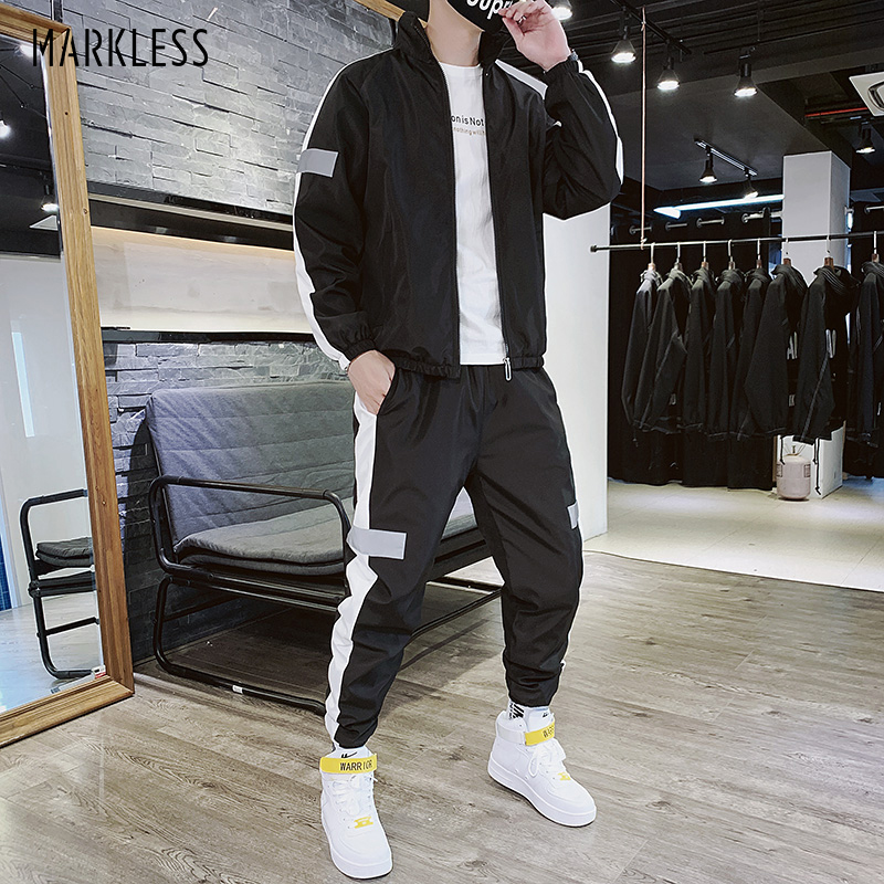 Markless Mens Outdoor Sports Suits Casual Fashion Soft Jackets Regular Fit Pants 026