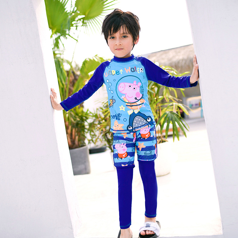 BOY'S Split Type Cartoon Bathing Suit Piggy  Paige Long Sleeve Trousers Sun-resistant Quick-Dry Celebrity Style Topee BOY'S Tour