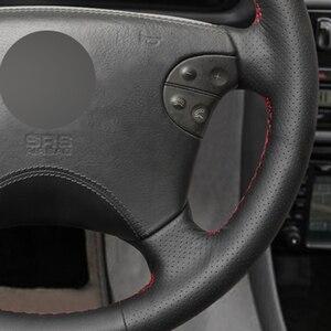 Image 4 - Zwart Lederen Hand Gestikt Auto Stuurhoes Voor Mercedes Benz W210 E Klasse E320 2000 2001 2002
