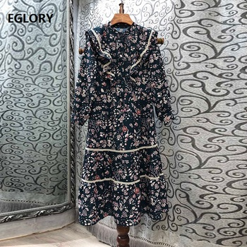 Vintage Dress 2020 Autumn Winter Fashion Women Elegant Little Floral Print Hollow Out Embroidery Long Sleeve Dress Tunic Party cheerart vintage tunic long autumn dress women flare sleeve floral print long sleeve a line midi ruched dress fashion 2020