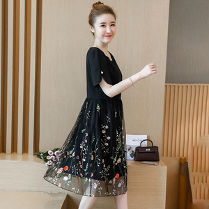 Image 3 - L 5XL Large Size Women Summer New elegant Knee Length Mesh Embroidered Fairy Korean Age Reduced Slim Plus Size Cocktail Dresses