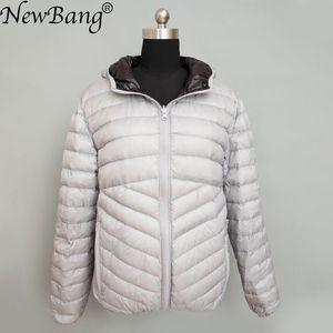 Image 2 - Newbang jaqueta masculina com capuz puffer ultra leve para baixo jaqueta masculina outono inverno duplo lado pena reversível parka