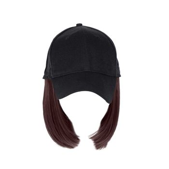 Women Girls Short One-piece Wig Bobo Head Synthetic Hair Baseball Hat with Wigs 40JF - discount item  32% OFF Hats & Caps