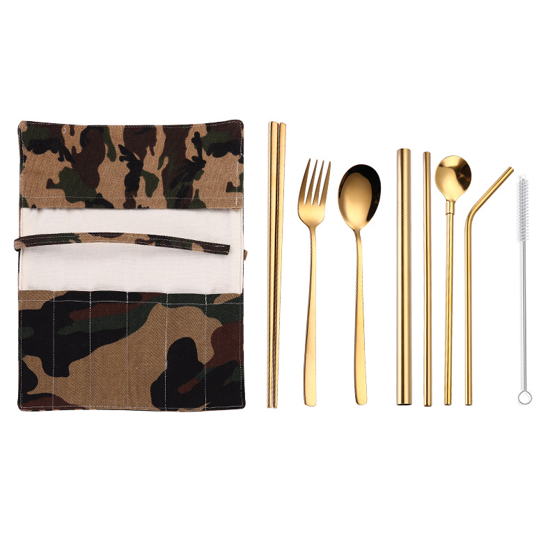2019NEW Tableware 9PCS Stainless Steel Cutlery Set Chopsticks Fork Spoon Straw with Close Bag