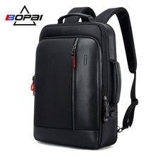 BOPAI Männer Schwarz Leder Rucksack USB Ladung Bagpack Schule Taschen Versteckte Tasche Anti Diebstahl Männlichen Laptop Rucksack Sac a Dos