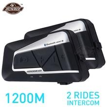 HEROBIKER 2ชุด1200M BTหมวกนิรภัยรถจักรยานยนต์กันน้ำไร้สายBluetooth MotoชุดหูฟังInterphoneวิทยุFMสำหรับ2 Rides