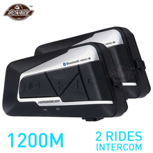 HEROBIKER Bộ 2 Cái 1200M BT Xe Máy Liên Lạc Nội Bộ Chống Nước Không Dây Bluetooth Moto Tai Nghe Interphone FM Đài Phát Thanh Cho 2 Cưỡi Ngựa