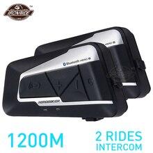 Herobiker 2 conjuntos 1200m bt capacete da motocicleta interfone à prova dwireless água sem fio bluetooth moto fone de ouvido rádio fm para 2 passeios