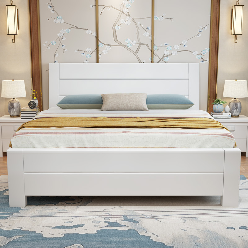 Wood Bed Modern Chinese Style White Double Bed 1.5m Bedroom 1.8 M Economical Storage Box High Furniture For Bedroom