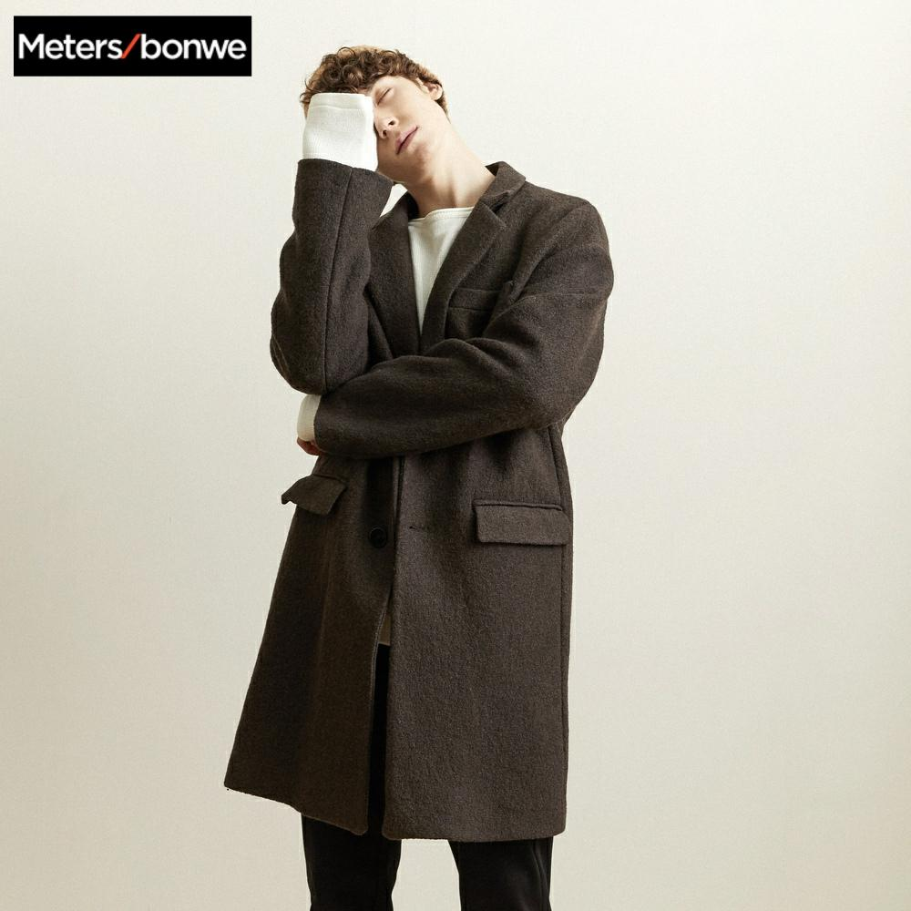 Metersbonwe Winter Woolen Jacket Men's High-quality Wool Coat Casual Slim Vintage Business wool coat Men's Trench Coat 239458