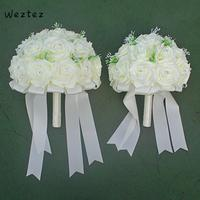 Rose Bridal Bouquet Bridesmaid Wedding Decoration Foam Flowers White Satin Romantic Wedding Bouquet SPH112