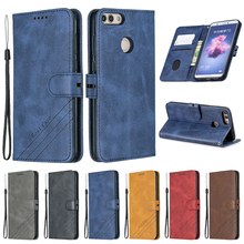Huawei P Smart Case Leather Flip Case on sFor Coque Huawei P Smart Psmart FIG-LX1 Phone Case Fundas Luxury Magnetic Wallet Cover
