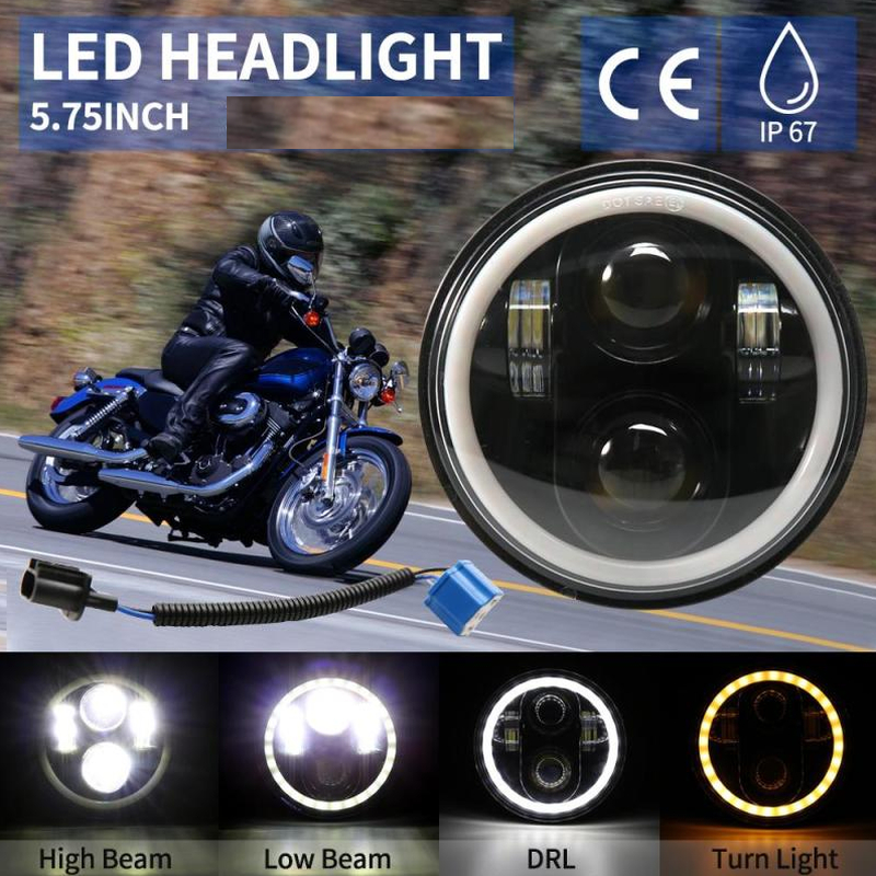 5.75 Inch LED Projector Headlight With Halo Angel Eyes White DRL Lights For Honda Shadow Aero Phantom VLX 600 750 VT 1100