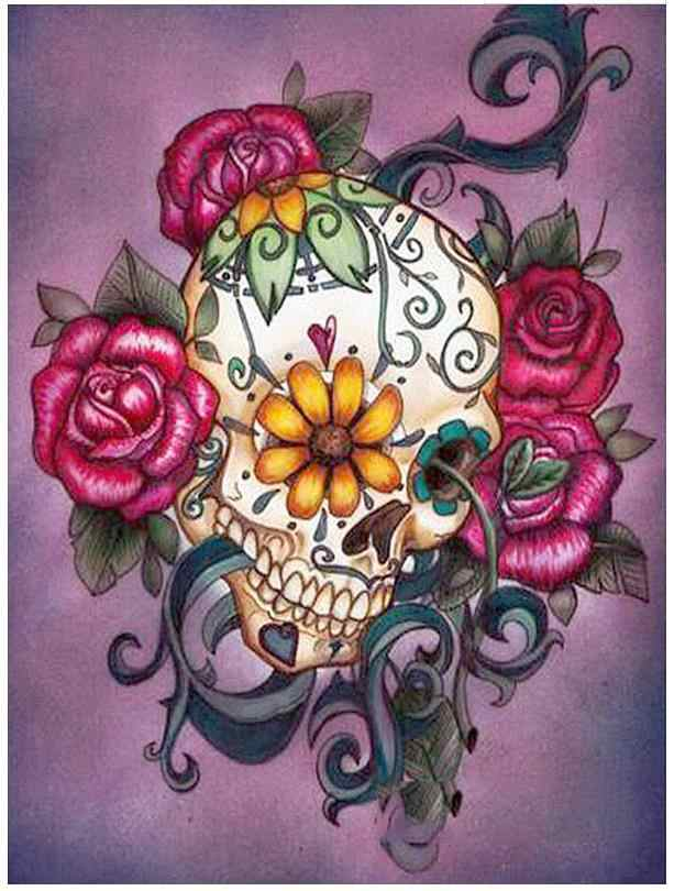 Halloween Diamond Mosaic Sugar Skull Diamond Art Painting Drawing Flower Picture Wall Paper Decor Bead Embroidery Cross Stitch Diamond Painting Cross Stitch Aliexpress