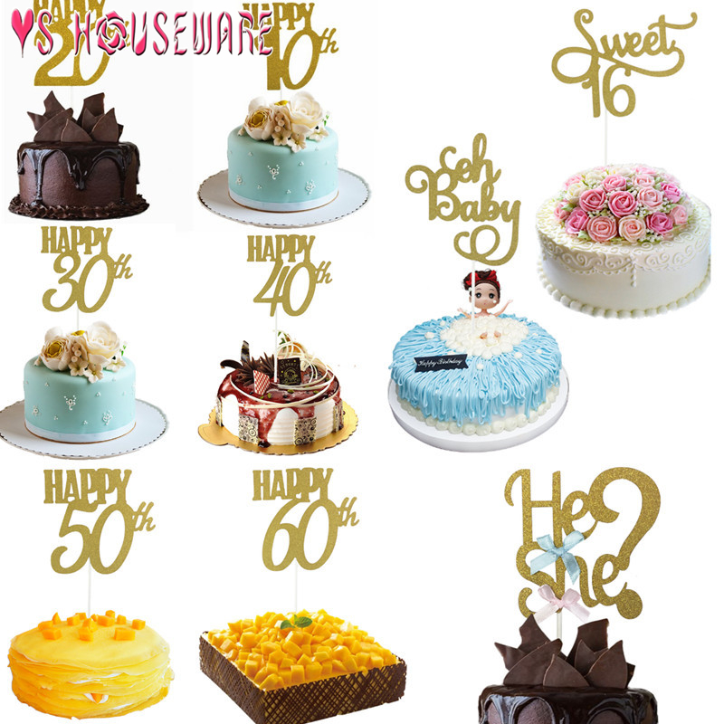 1PC Happy <font><b>Birthday</b></font> <font><b>Party</b></font> Cake Topper Glitter bride to be 10th 30th 40th <font><b>50th</b></font> 60th Anniversary Decoration Wedding Cake Decoration image