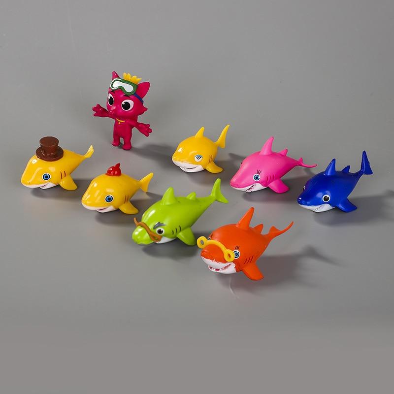 8PCS/Set Cartoon Ocean Fish Dolls Shark Clownfish Flatfish Anime figure Toys Cartoon Animals Toys PVC Models Fish Figurines Toys