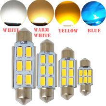 Festoon canbus 31mm 36mm 39mm 41mm c5w sem erro 5630 5730 2/4/6 led smd lâmpadas led para interior do carro, branco e amarelo