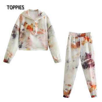 Toppies 2021 Tie dyed Sweatshirts and pants Women Tracksuits High Waist Jogger Pants Casual Two Pieces Set 1