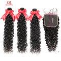 Queenlife 8-36 дюймов волна воды 3 пряди с закрытием 6x6 Кружева Закрытие Remy волосы 100% бразильские человеческие волосы