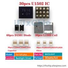 30 Bộ (300 chiếc) /rất nhiều cho Iphone 6/6 Plus Đèn Nền Lái Xe giải pháp Bộ IC U1502 + Cuộn Dây L1503 + Diode D1501 + Tụ Điện c1530/C1531/C1505 + Lọc FL2024/FL2025/FL2026