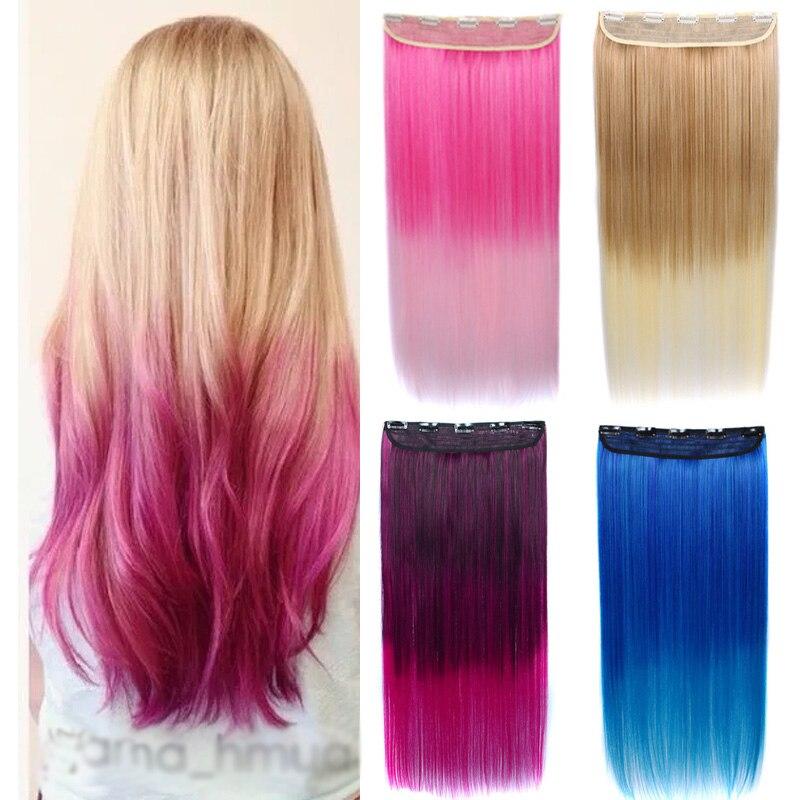 Jeedou длинные прямые заколки в одной части наращивание волос натуральные синтетические розовые коричневые синие Омбре цветные женские шиньо...