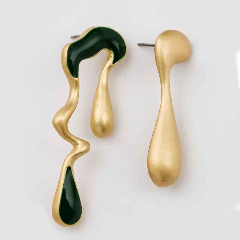 Moda 1 par de pendientes de encanto asimétricos para mujer pendientes de aleación de Zinc esmaltado pendientes únicos