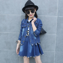 Girls Spring 2020 New Style Big Childrens Dress Outfit and Summer Denim Two-Piece Skirt Fashion Clothes