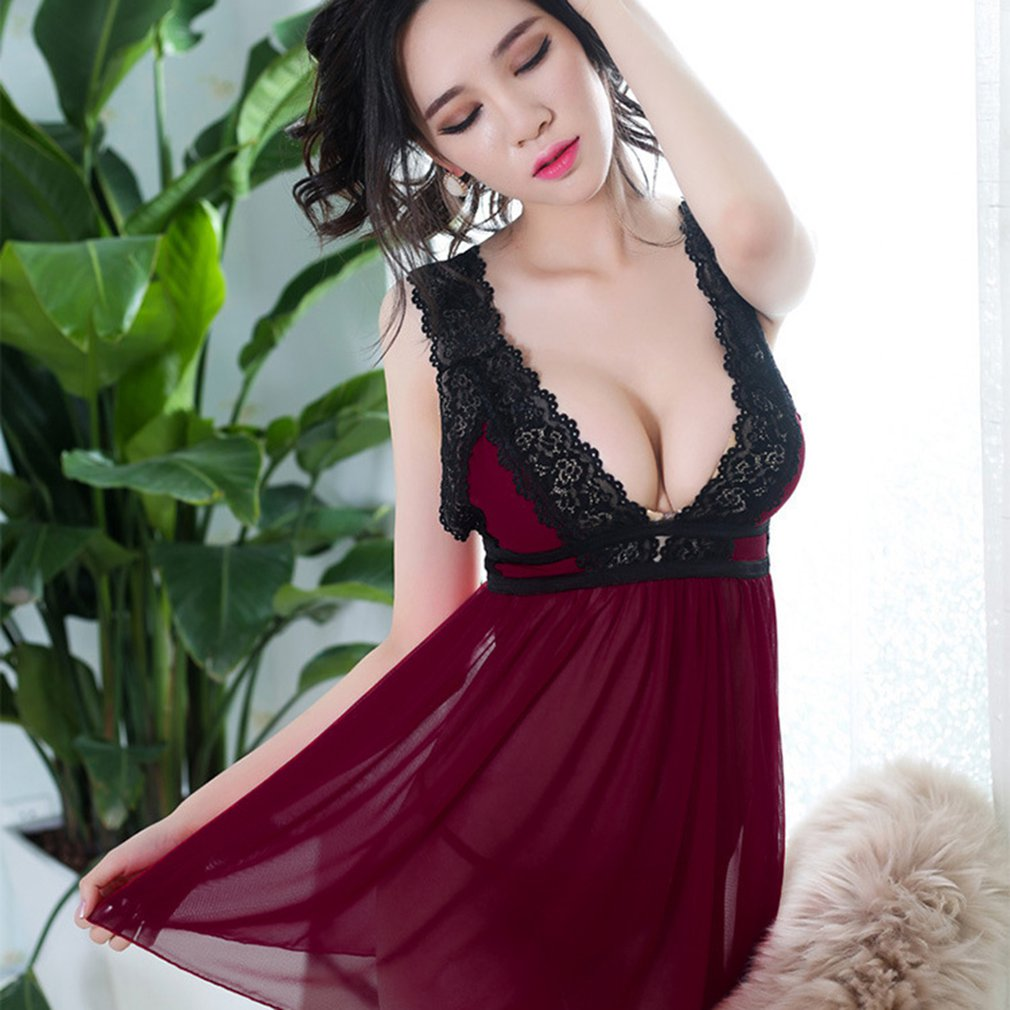 Sexy Lace Summer Women Sleepwear Nightwear Sleeveless Deep V Nightdress Female Loose Nightgown Nightwear