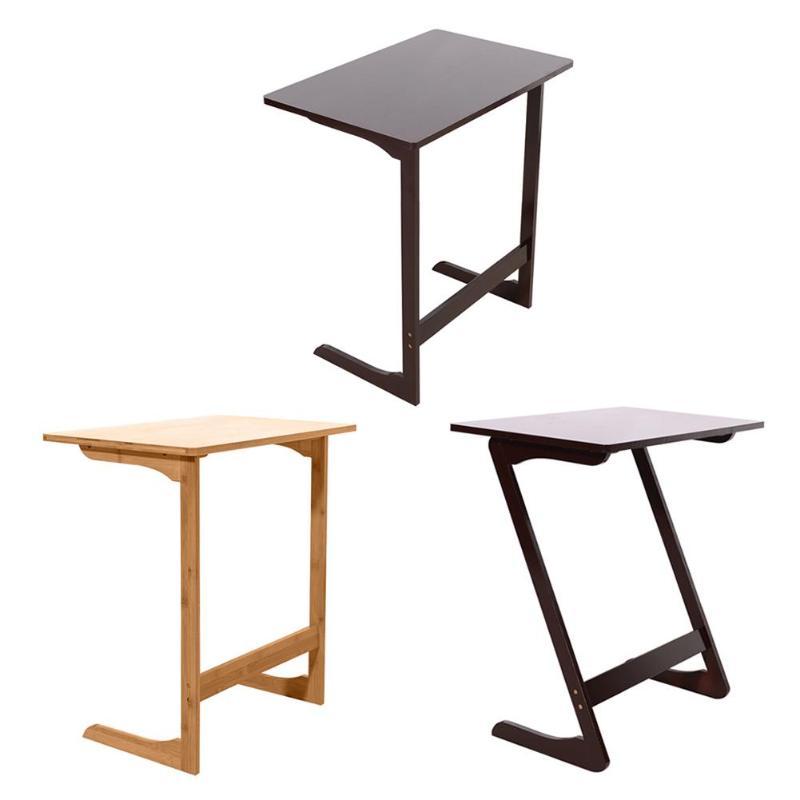 L Shaped Bamboo Sofa Side Table Movable Coffee Tea Desk Bedroom Furniture