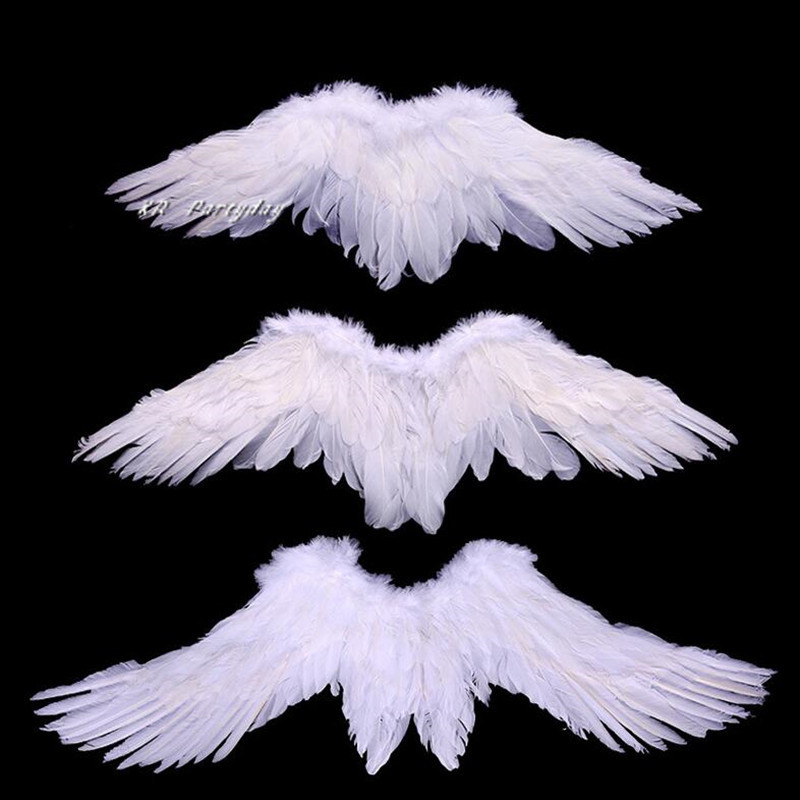 Kids Child Adult Black White Feather Angel Wing Cosplay Show Costume Prop Wedding Birthday Party Halloween Decorations Gift