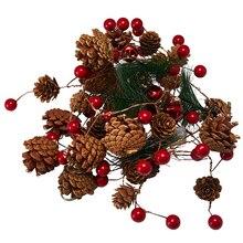 DIY decoración de Año Nuevo LED Cadena de luz Pino cono cobre alambre Hada blanco cálido guirnalda luces para Navidad hogar boda fiesta