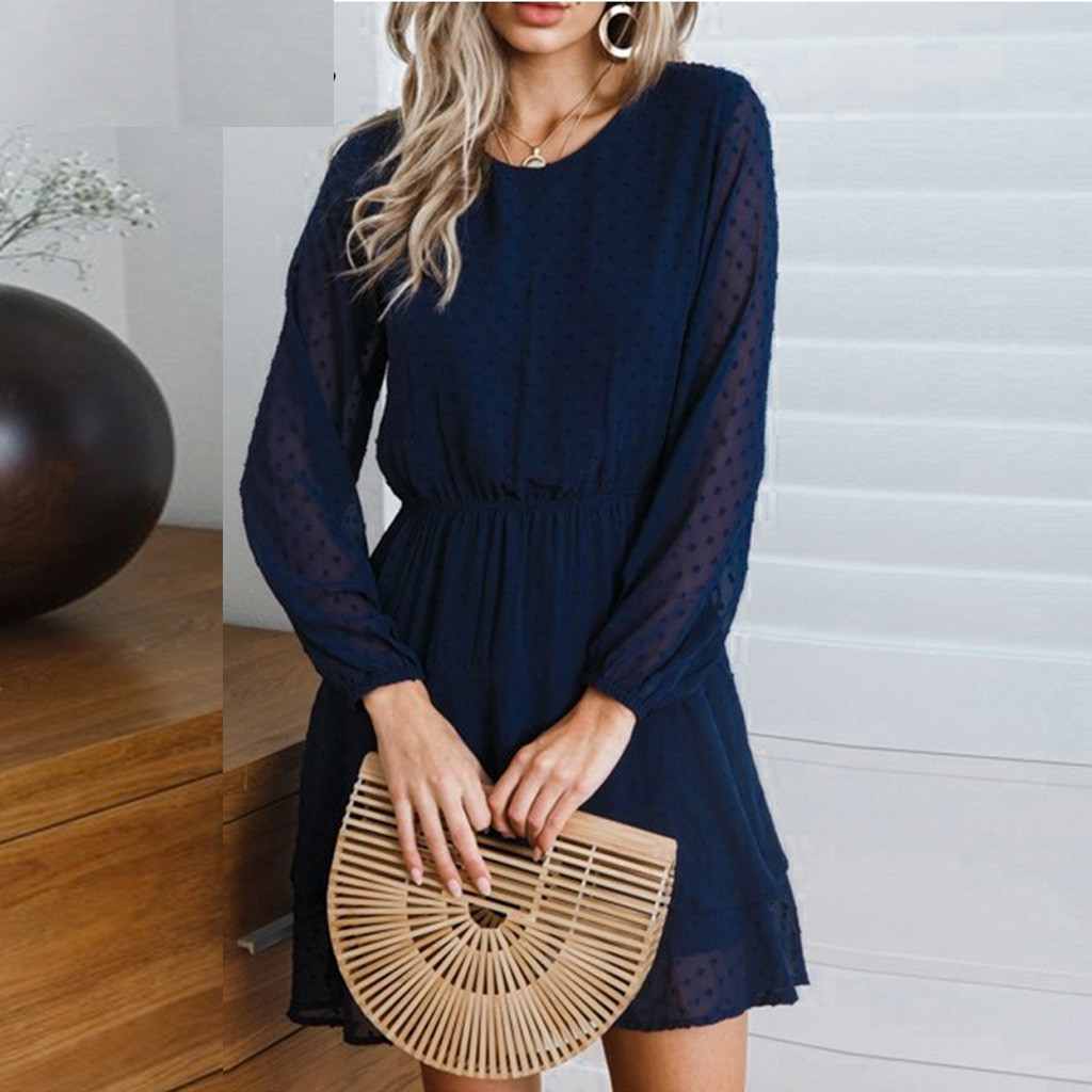 New autumn and winter women s dress sexy O neck solid color cascading full lantern sleeves