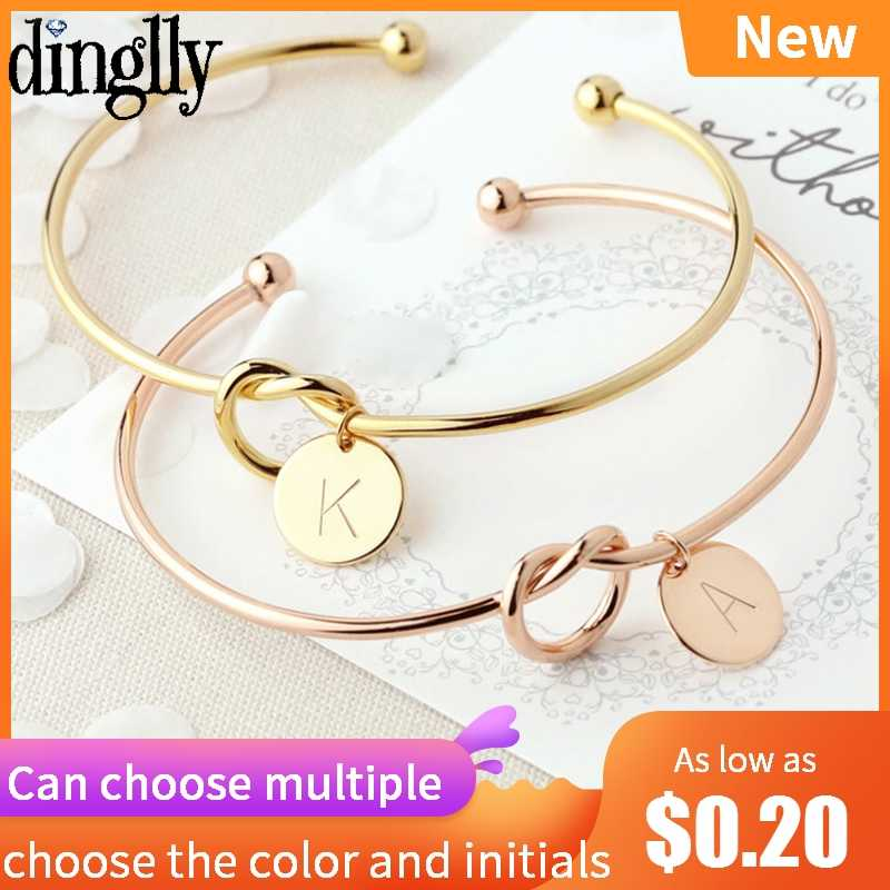Personality Multiple Choices Gold Rose Gold Silver 26 Letter Charm Bracelet Bangle For Women Men Lover Initials Couple Bracelets