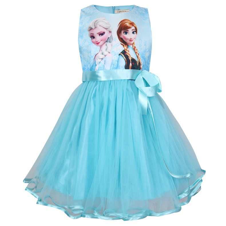 Anna Elsa Gadis Gaun Musim Panas Snow Queen Gaun untuk Anak Perempuan Gaun Pesta Ulang Tahun Hadiah Balita Putri Natal Gaun Gaun Gadis