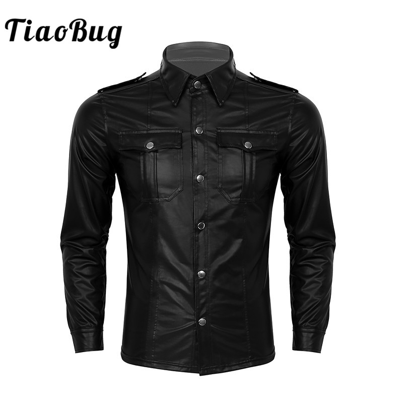 TiaoBug Black Wetlook Patent Leather Turn-down Collar Long Sleeve Button Down Slim Nightclub Party Rave Dancewear Men Sexy Shirt