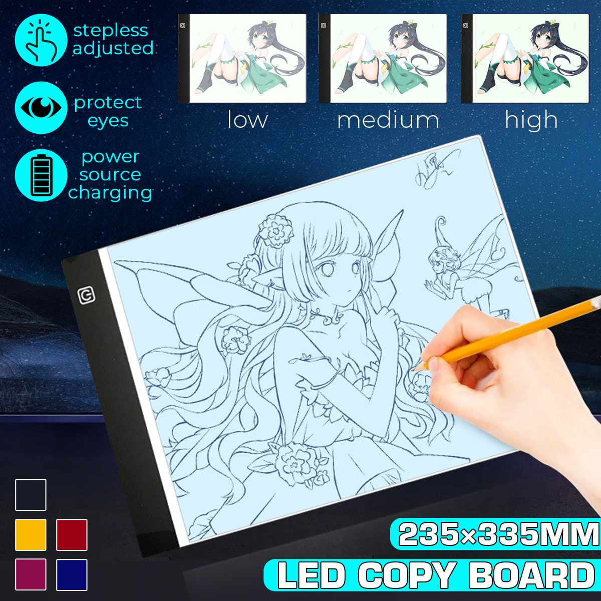 <font><b>A4</b></font> Stepless <font><b>Dimmable</b></font> Adjustable <font><b>LED</b></font> Drawing Tablet Copy Board <font><b>LED</b></font> <font><b>Light</b></font> Painting <font><b>Pad</b></font> Graphics Artist Thin Art Stencil Drawing image
