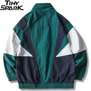 Image 2 - 2019 Erkekler Hip Hop Ceket Rüzgarlık Retro Streetwear Renk Blok Patchwork Ceketler Ceket Sonbahar Harajuku Zip eşofman üstü Rahat