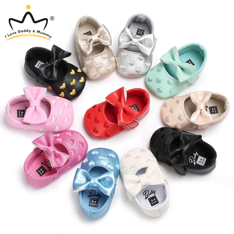 Cute Bows Love Heart Print Pink Princess Baby Girl Shoes Soft Soled Anti Slip Newborn Toddler Shoes Baby Shoes