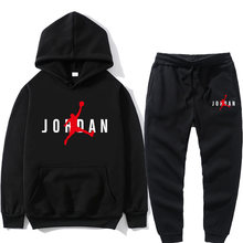 Novo conjunto de hoodie masculino jordan 23 agasalho conjunto moletom com capuz velo + moletom jogging homme pullover moletom para homem