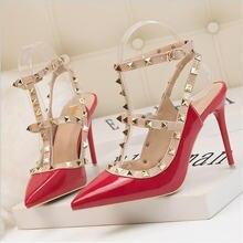 Роскошные дизайнерские женские туфли на высоком каблуке с заклепками;