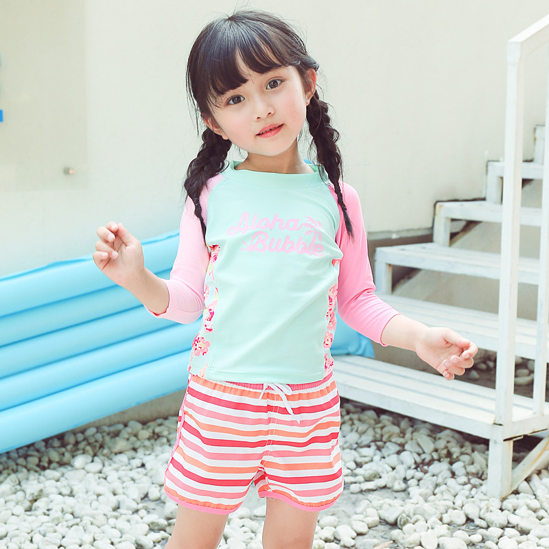 2020 New Style KID'S Swimwear Big Boy Pink Stripes Lace-up Cute GIRL'S Beach Shorts Hot Springs Swimming Trunks