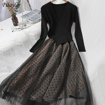 Fitaylor 2021 New Autumn Women Knitted Tulle Patchwork Dresses Elegant Long Sleeve Polka Dot A Line Black Ladies Dresses 1