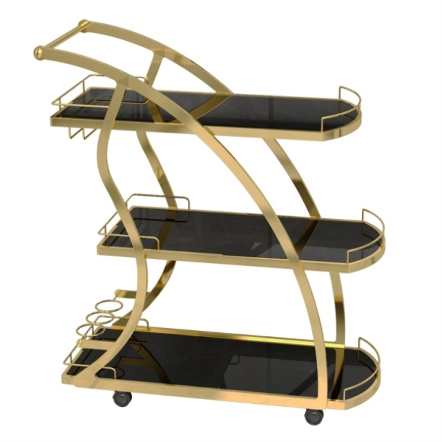 KTV Golden Three-tier Trolleys Tea Cart Wine  Cake Rack Hotel Restaurant Mobile Dining Car