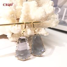 CXQD nowych kobiet moda biżuteria geometryczne dynda spadek kolczyki kryształowe szkło słodki Metal przezroczyste kolczyki dla kobiet prezent tanie tanio Ze stopu miedzi CN (pochodzenie) Klasyczny YM0108 GEOMETRIC Kobiety