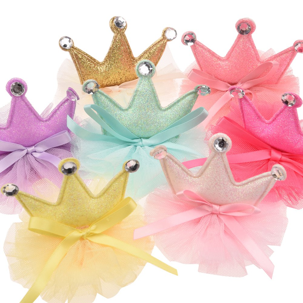 4pcs  Fashion Crown Boutique Newborn Hair Accessory Cute Crown Gauze Tiara Without Barrette For Hairband  Headband No Hair Bow