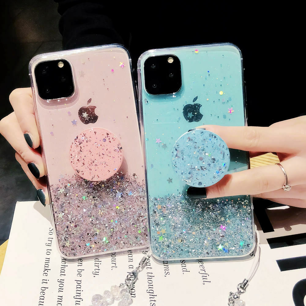 Bling Glitter Case For iPhone 11 Pro Max 11 Pro 11 XS XR X XS Max 6s 6 7 8  PlusSlim Case With Stand Holder Phone Cases Socket 1